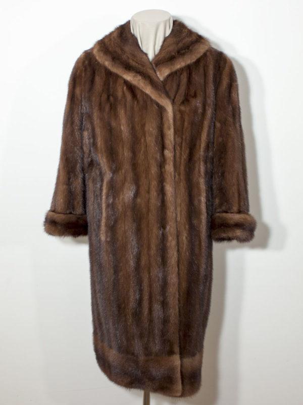 Dlouhý norkový kožich s lemem D1700150